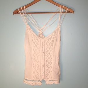 Button-front lace crossback cami